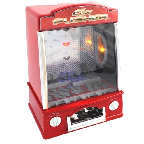 Coinpusher mini geldschuifmachine van de kermis.