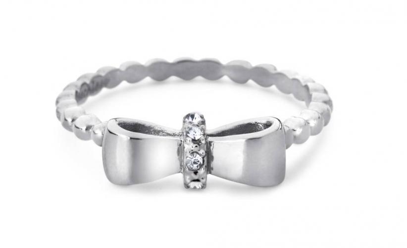 Cadeautip speechless jewelry ring bolletjes met strikje witgoud