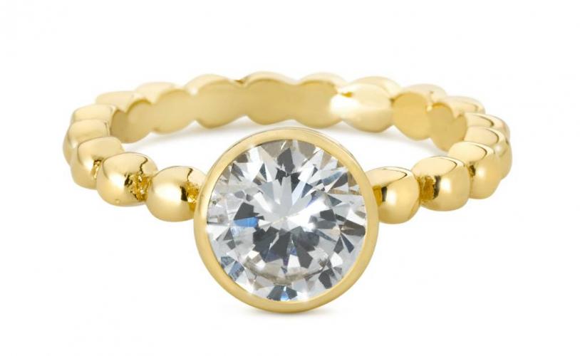 Cadeautip speechless jewelry ring bolletjes met zirkonia steen geelgoud