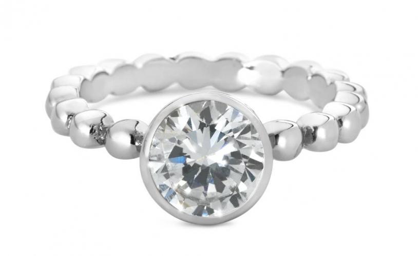 Cadeautip speechless jewelry ring bolletjes met zirkonia steen witgoud